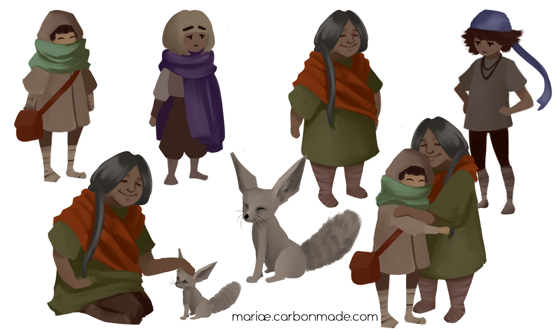 Characters that appear in the fake-gameplay video I made for the class using Adobe After Effects.