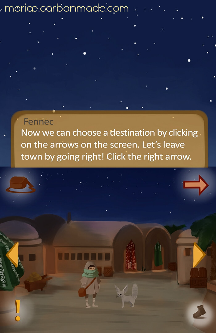 Screencap from the tutorial. Fennec is the Pathfinder's helper and explains the game mechanics to them in the beginning.