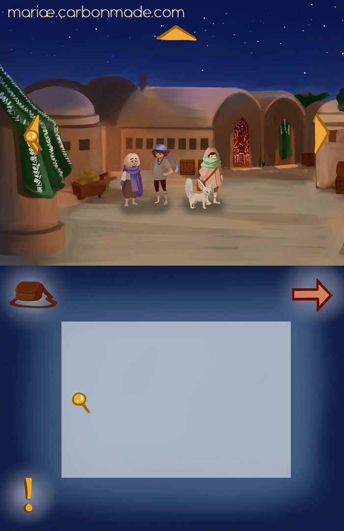 Screencap from an exploration scene. The player can look around the settings and click on objects to interact with them.