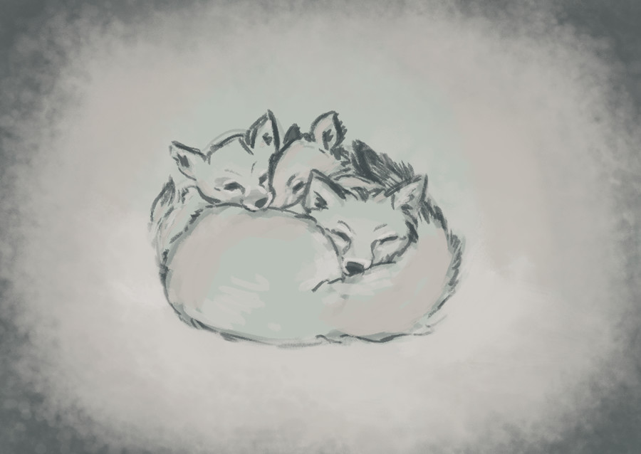 Ines merino xmas foxes 1
