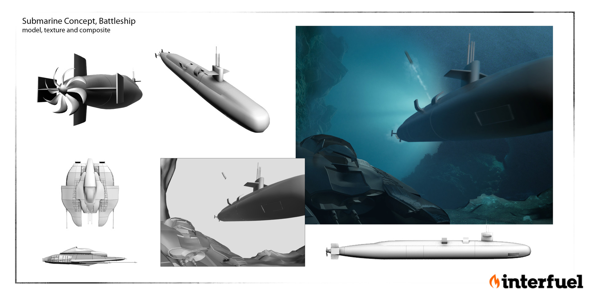 Submarine Attack Scene: Concept , design, model and composite