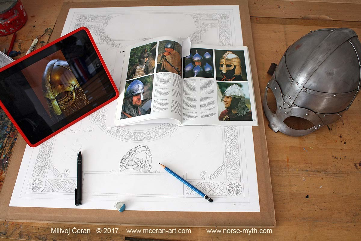 Norse Mythology art book cover, wip 002 drawing