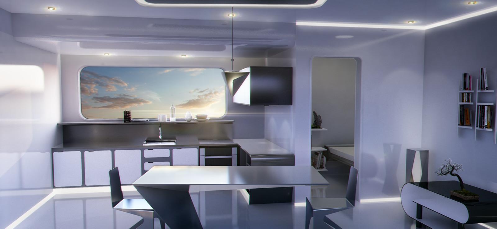 Futuristic/Sci fi minimalist apartment interior