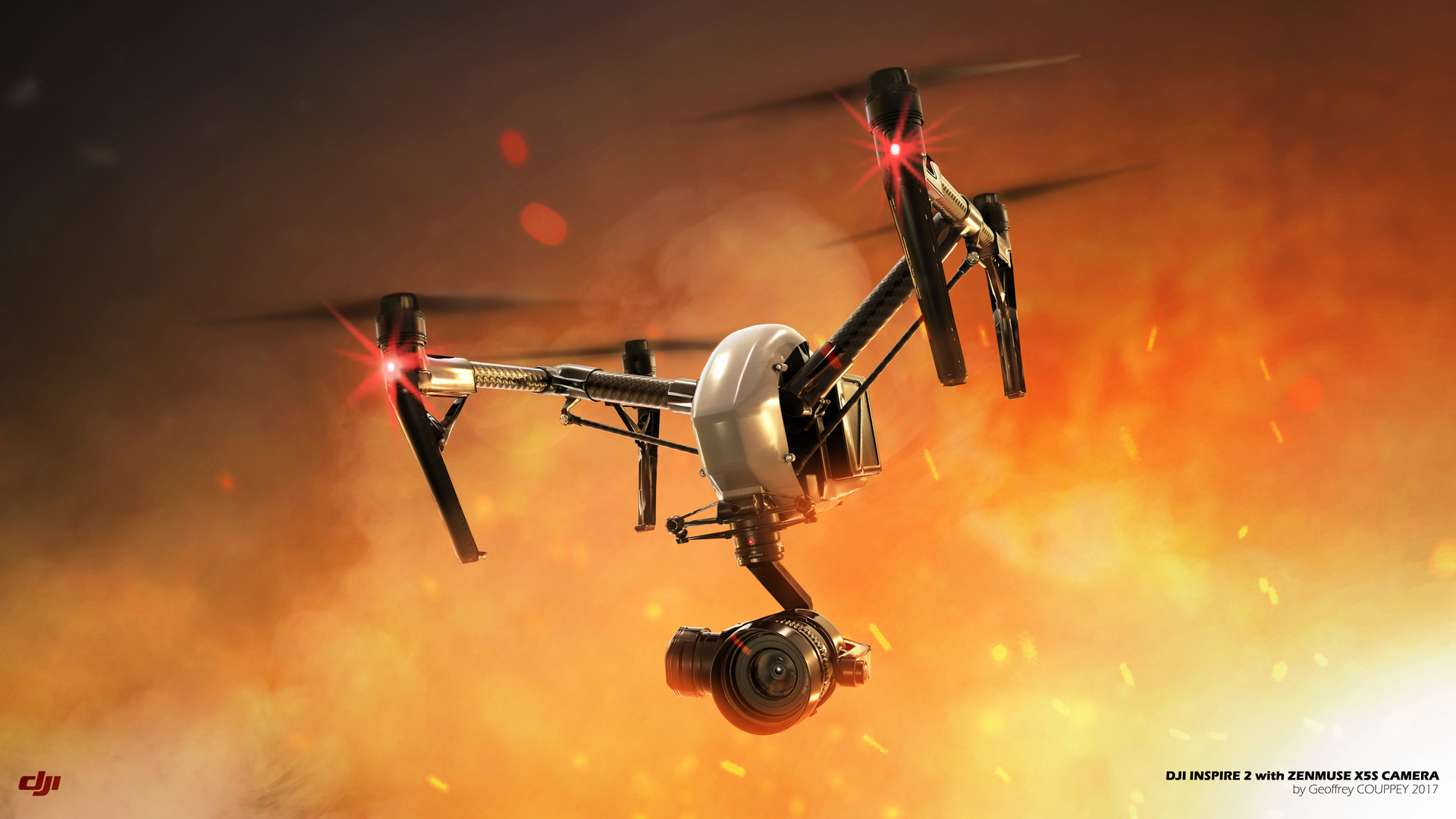 DJI INSPIRE 2 IN FIRE 3D Illustration