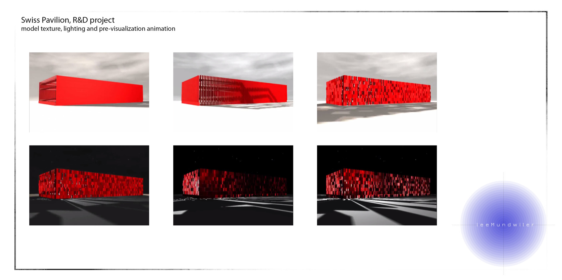Swiss Pavilion proposal:  Model, texture, lighting and animation