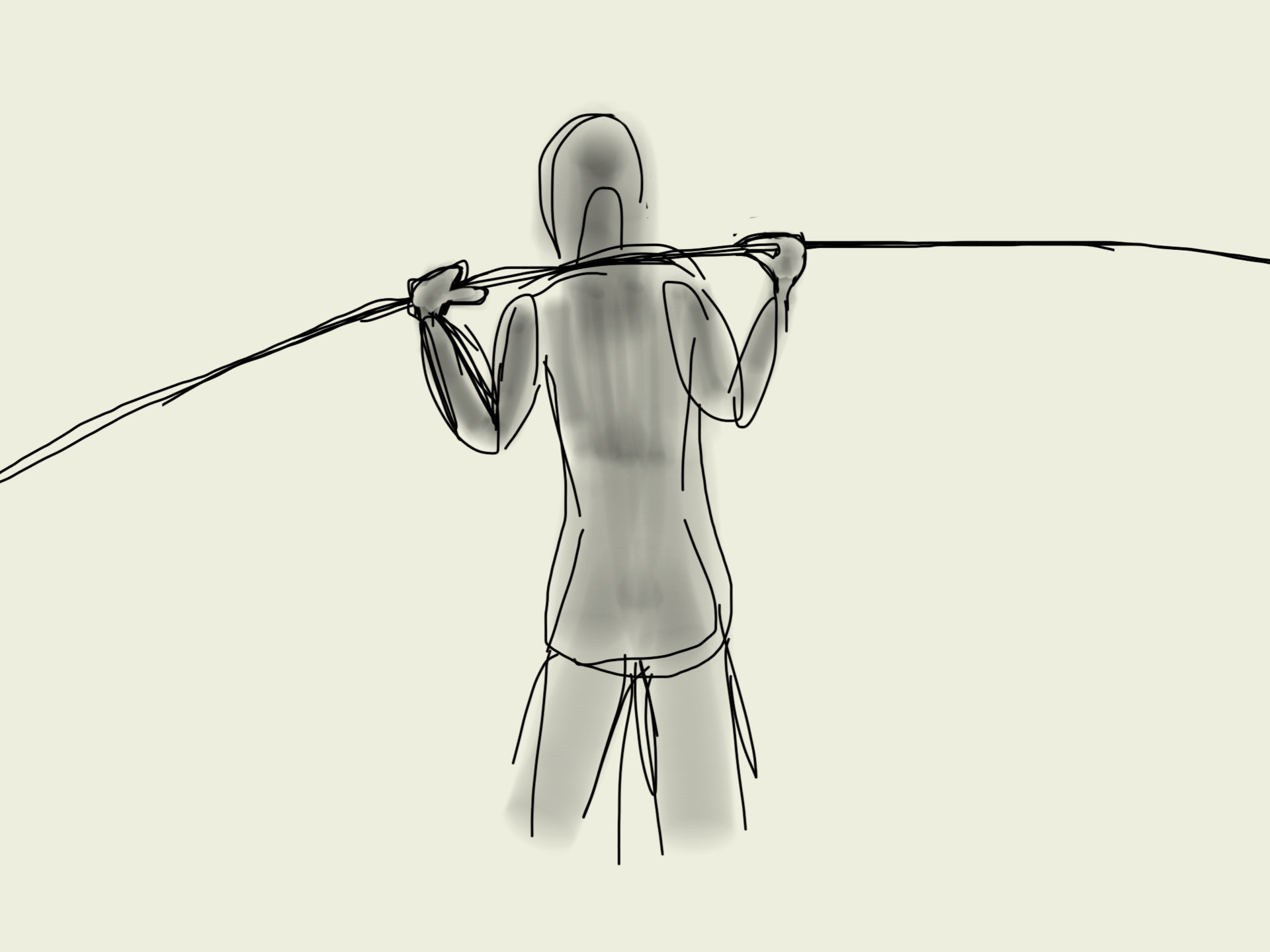 Rough pose study of the vaulter