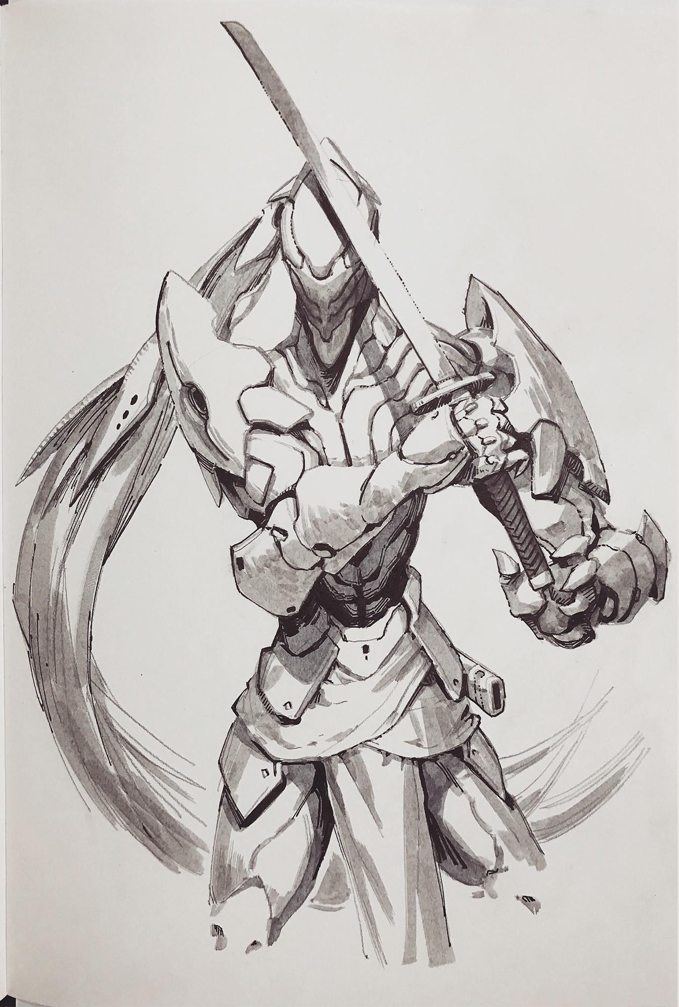sketch on paper.