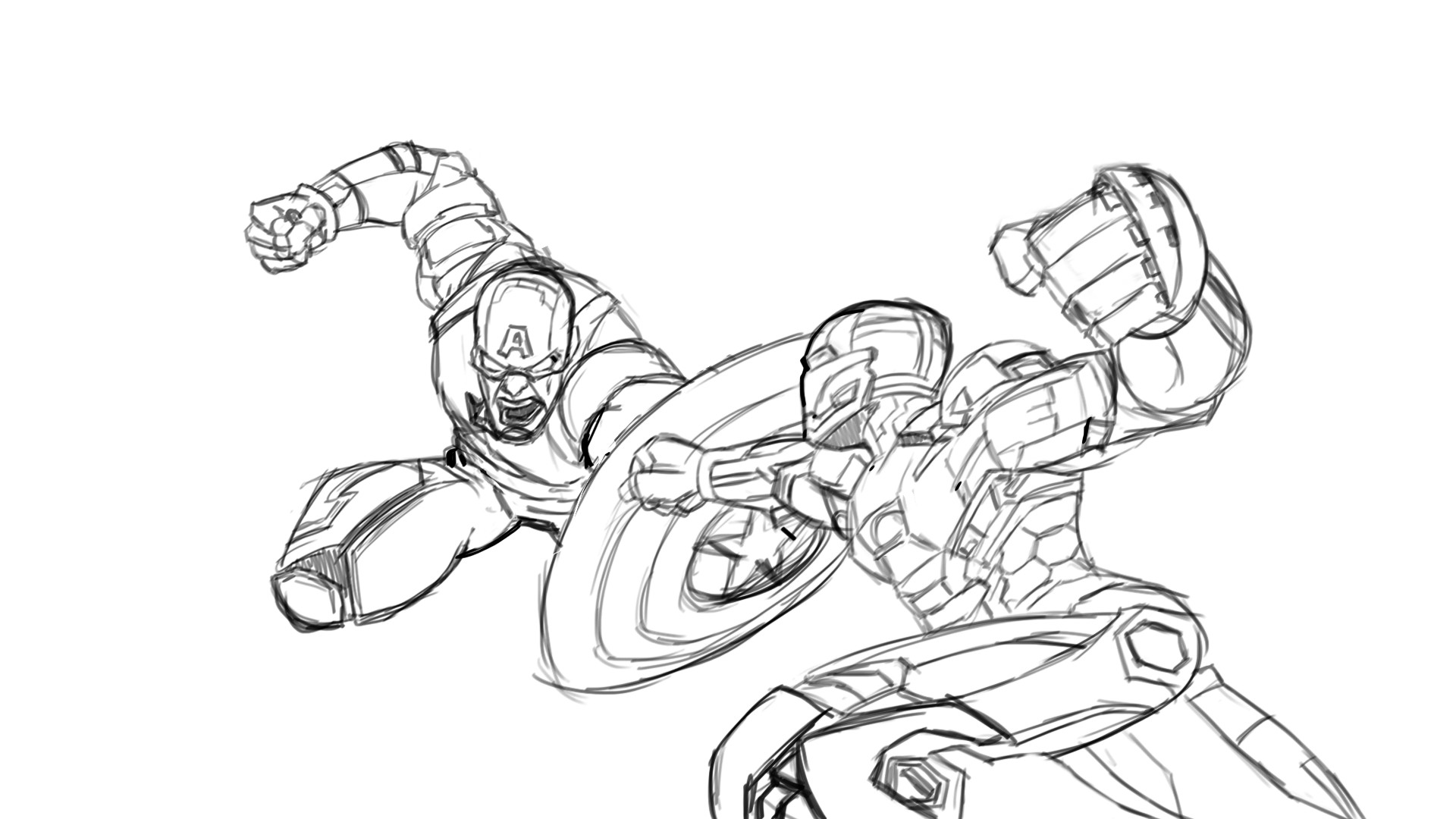 ArtStation - Drawing Iron Man vs Captain America Part 1 (Sketch ...