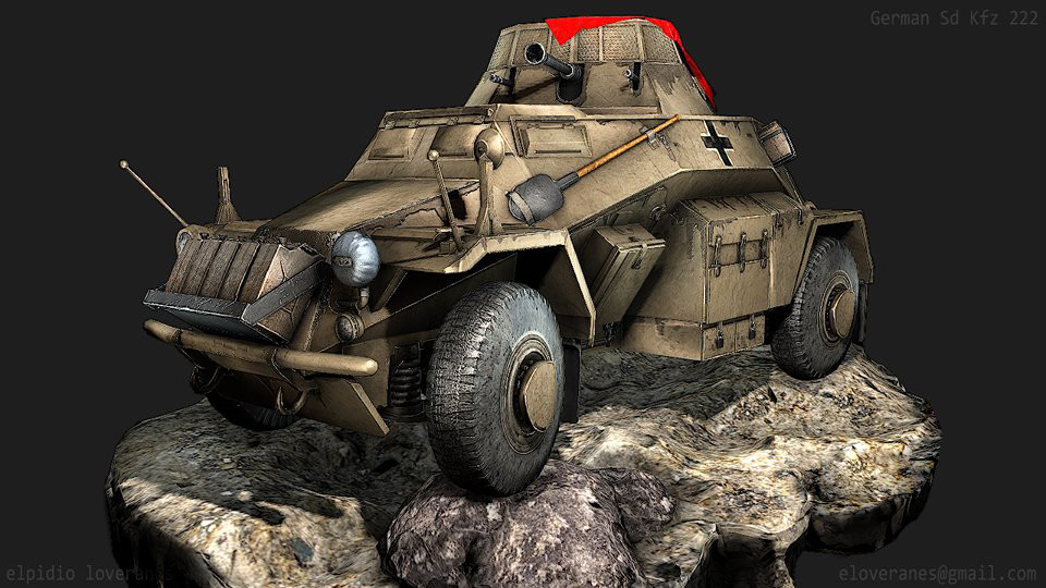 Sd Kfz 222:  Light armoured vehicle used in World War 2 by German forces.