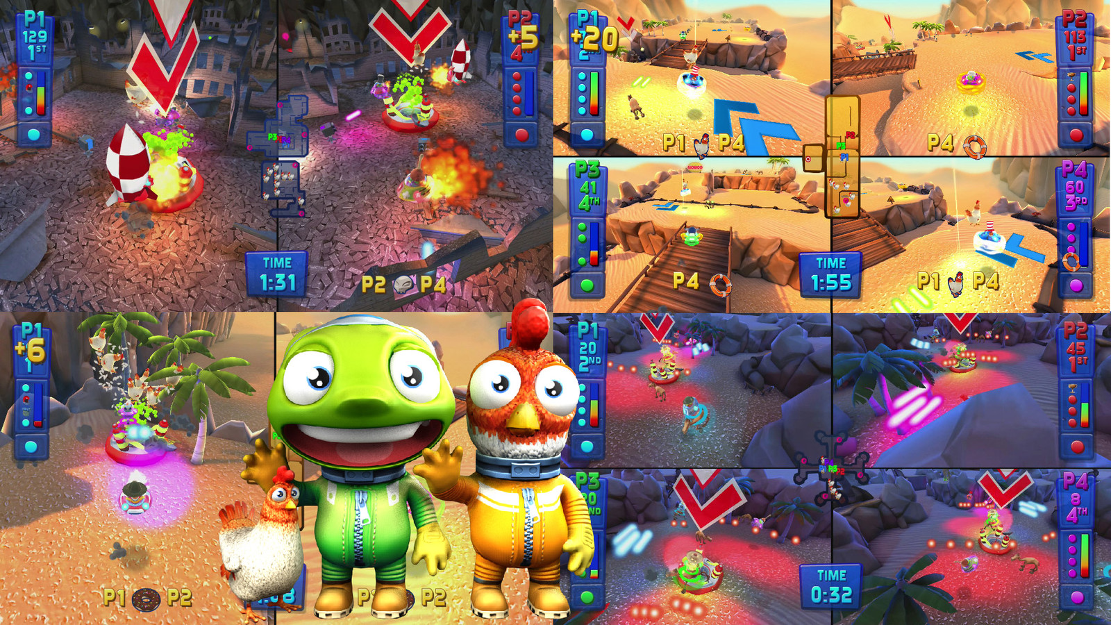 selection of game environments and 2 of the characters