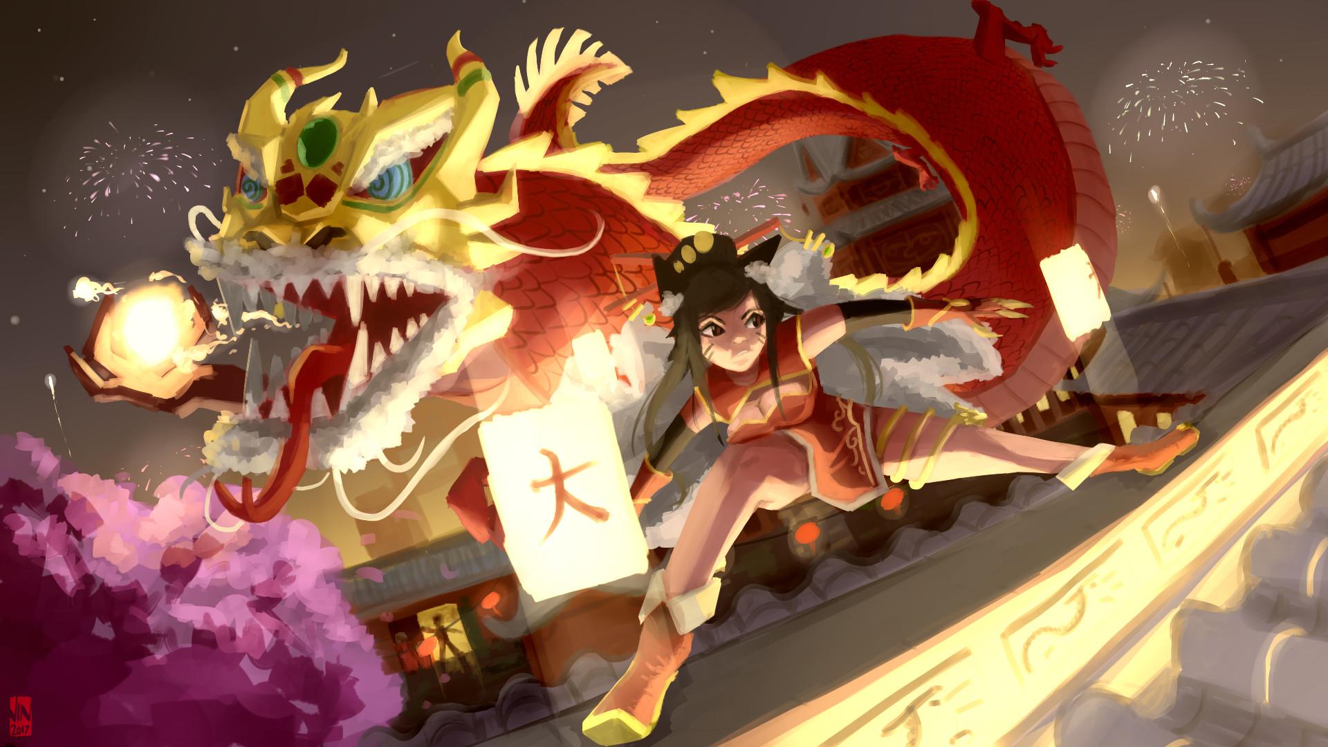 Artstation Dragon Dance Aurelion Sol Sky Lantern Ahri Mark Vinluan