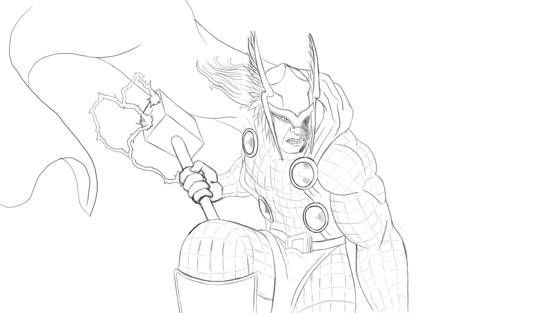 Artstation Drawing Thor Part 1 Daily Cartoon Drawings