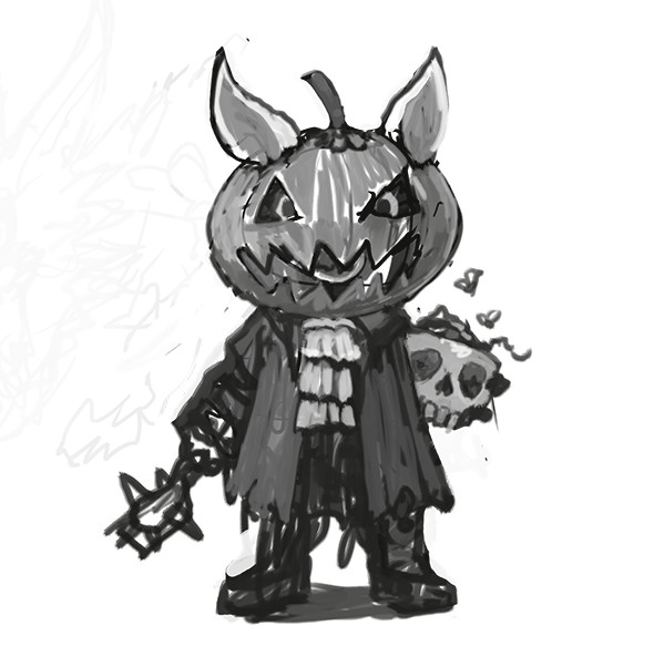 The very first sketch for Pumpkin Gnart.