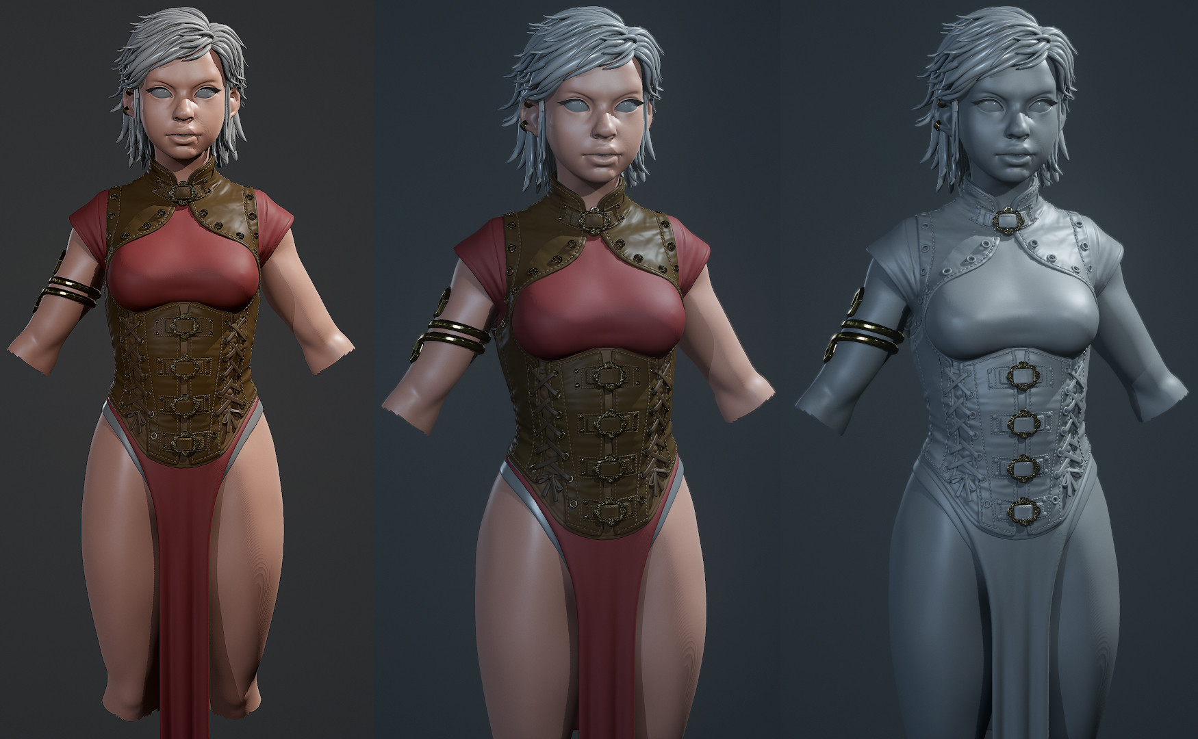 Test renders of armor in Toolbag 3