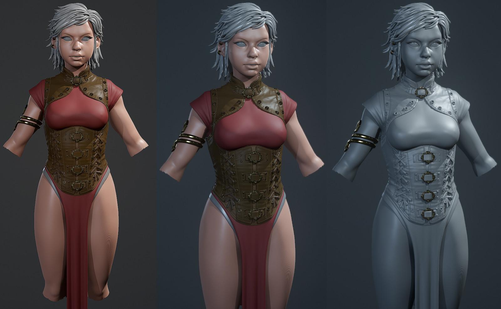 Test renders of armor in Toolbag 3