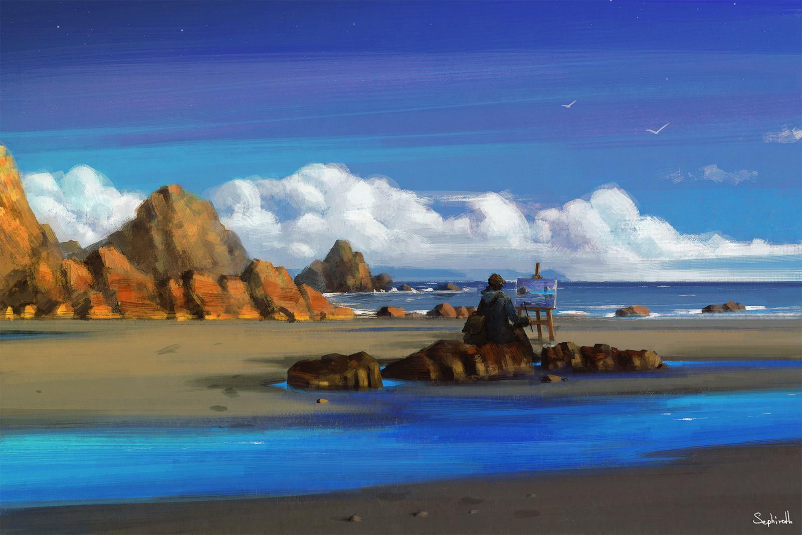 Sephiroth art seaside