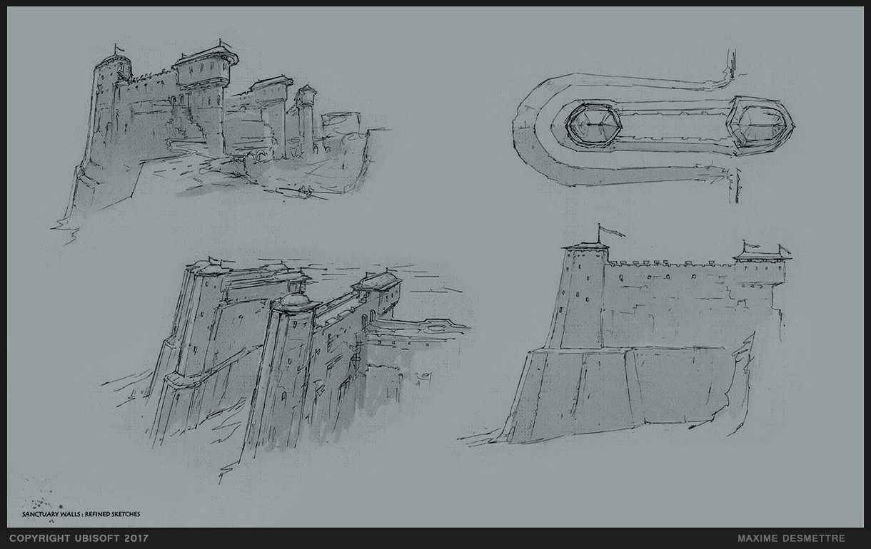 For Honor : Rampart Walls - Initial Study sketches  (2014)