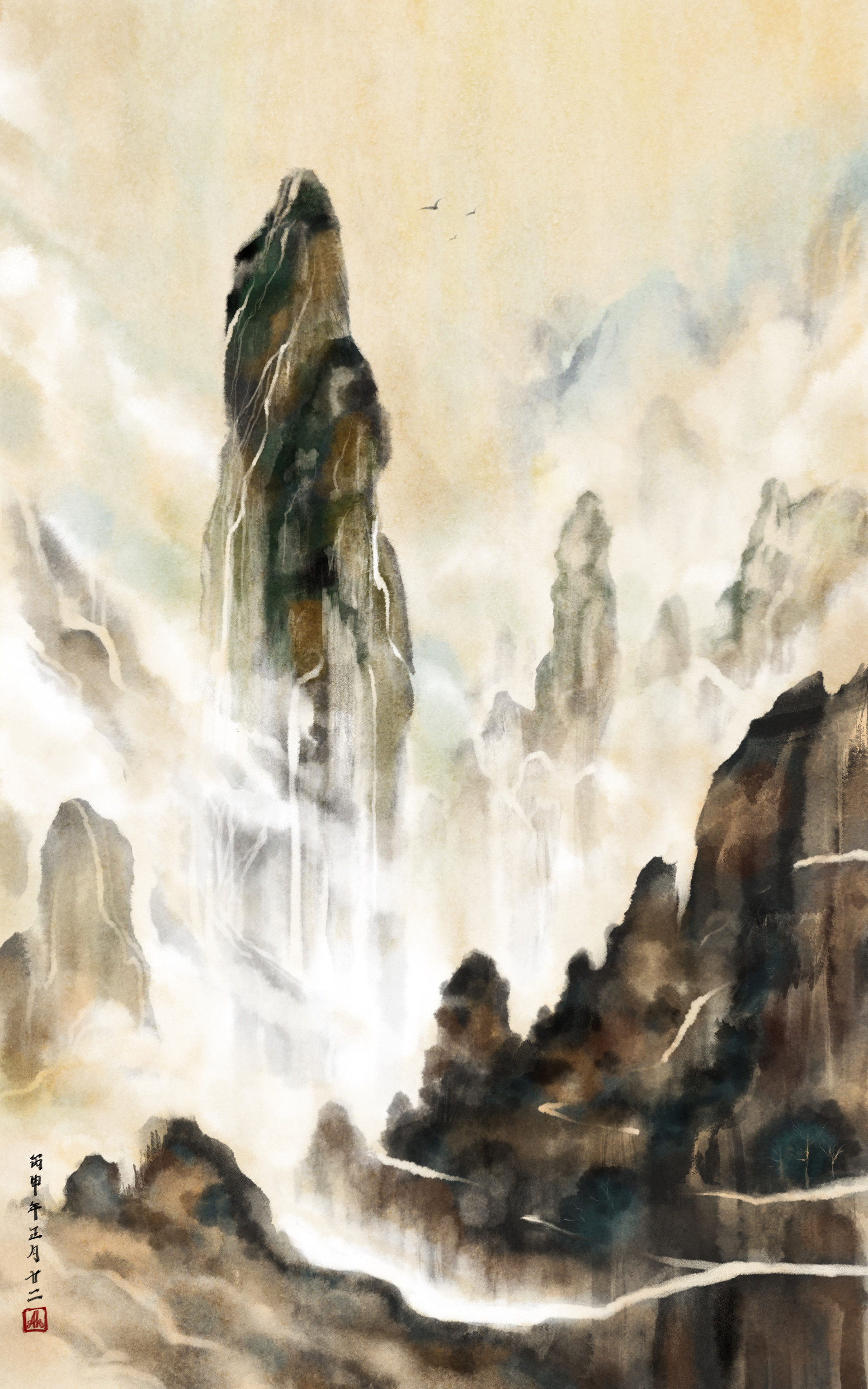 ArtStation - Chinese ink painting : mountain 02, AK Chen