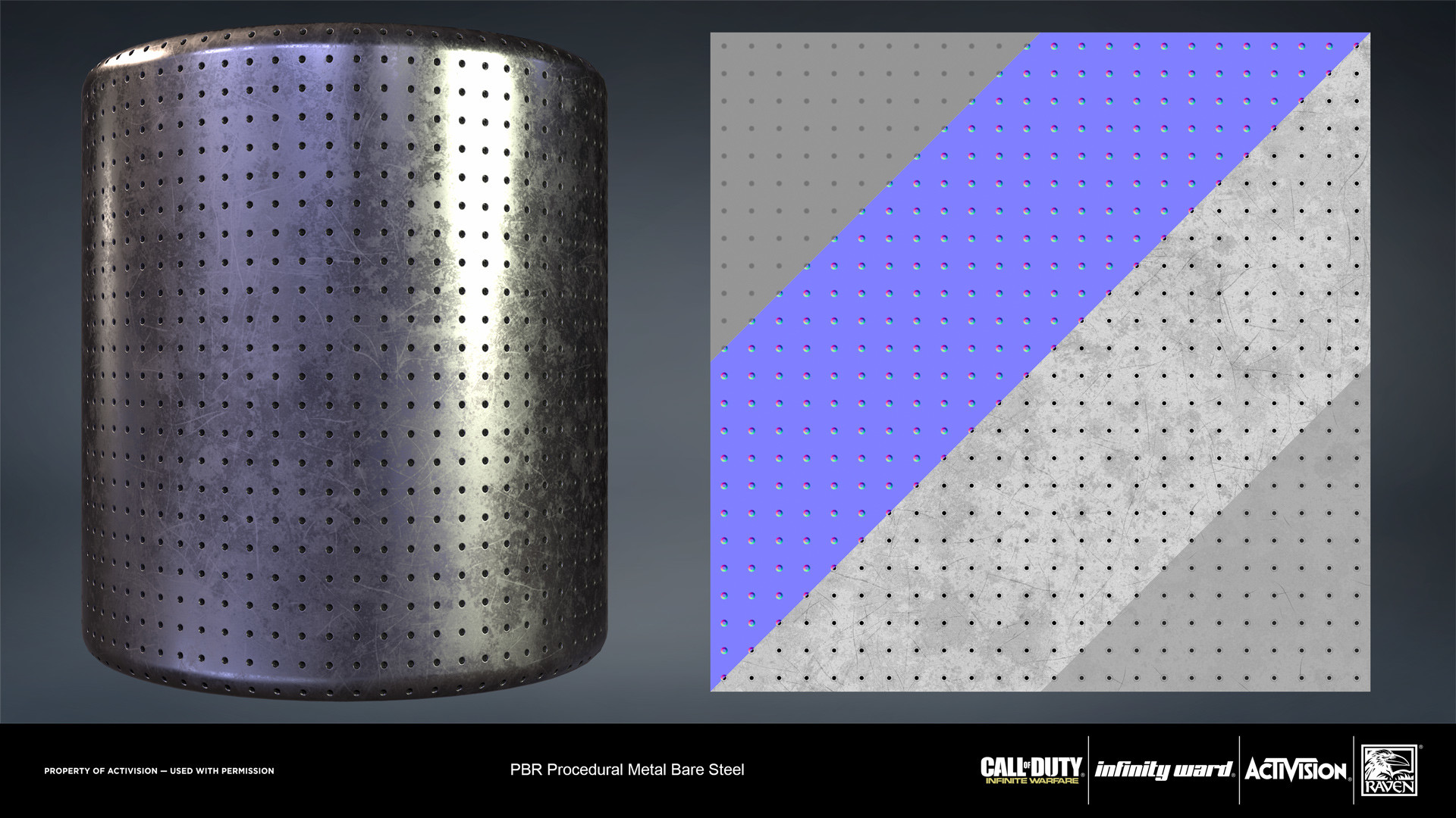 Bare metal steel material. Created entirely in Substance Designer.