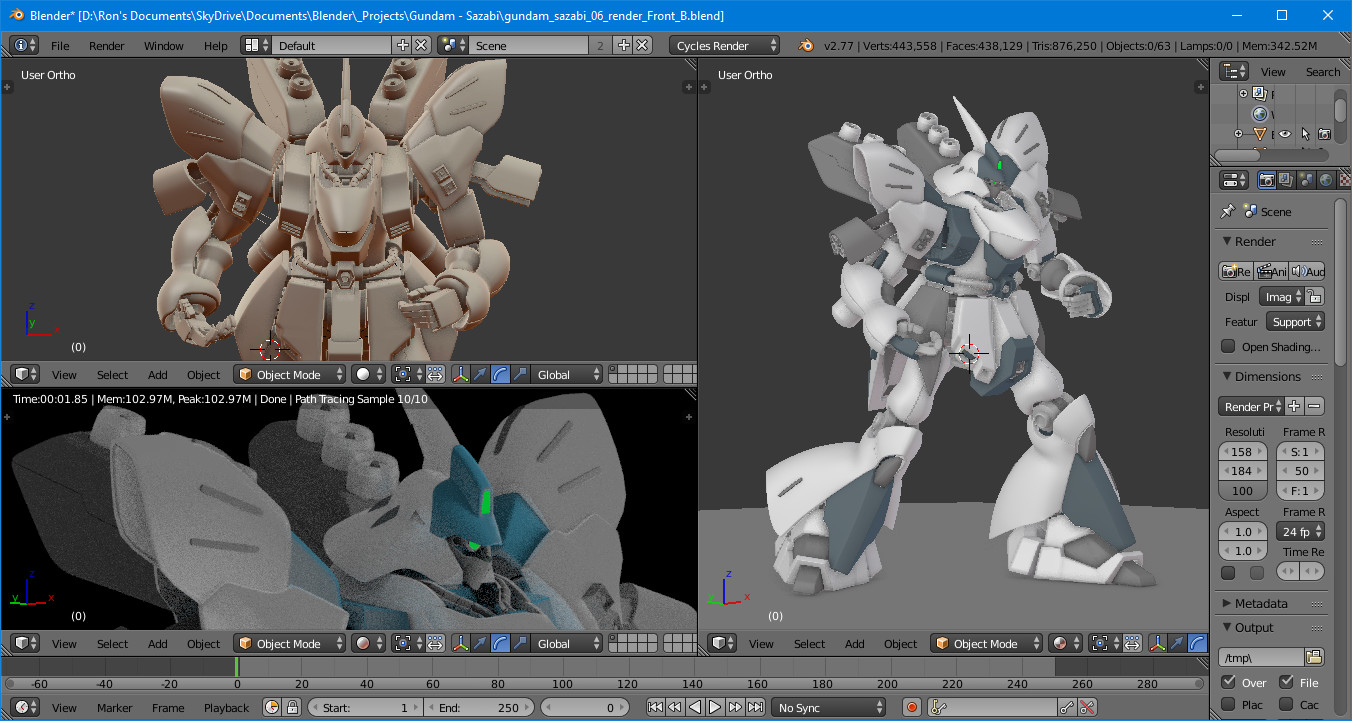 Ron tabora sazabi render viewport