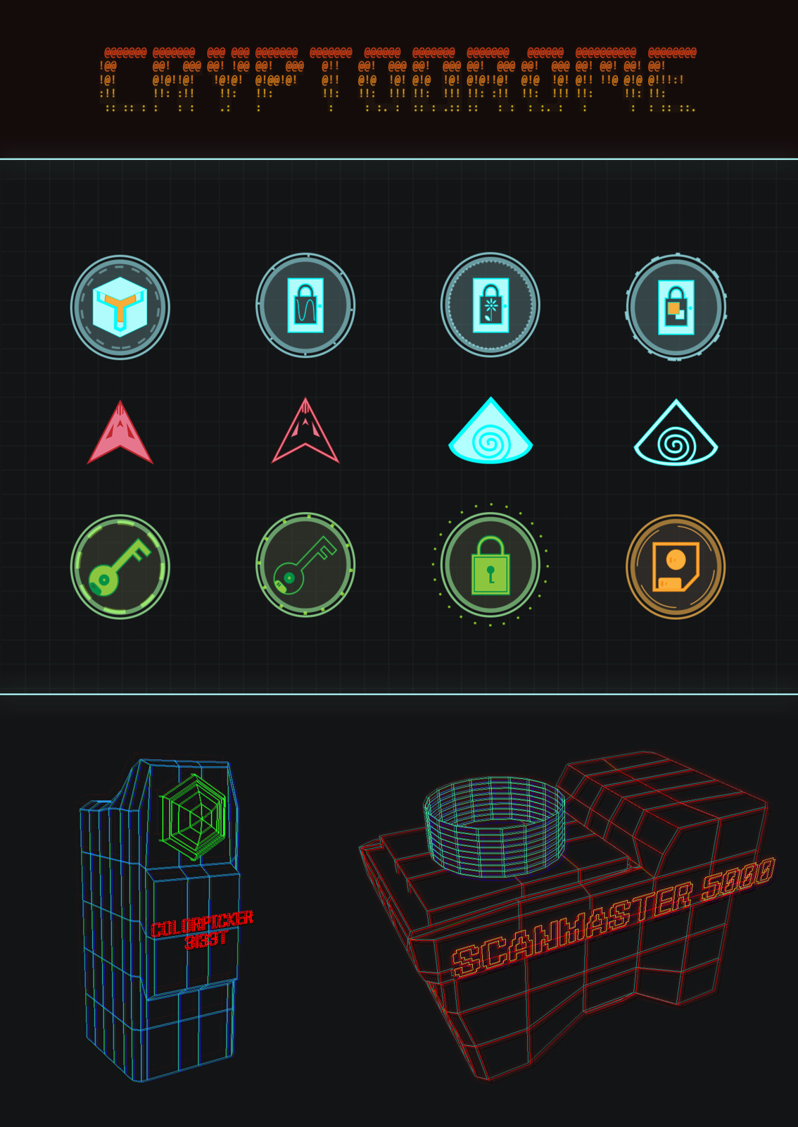 Some UI designs for possible in-world HUD the Director could interact with and map icons. The objects on the bottom are 3D models.