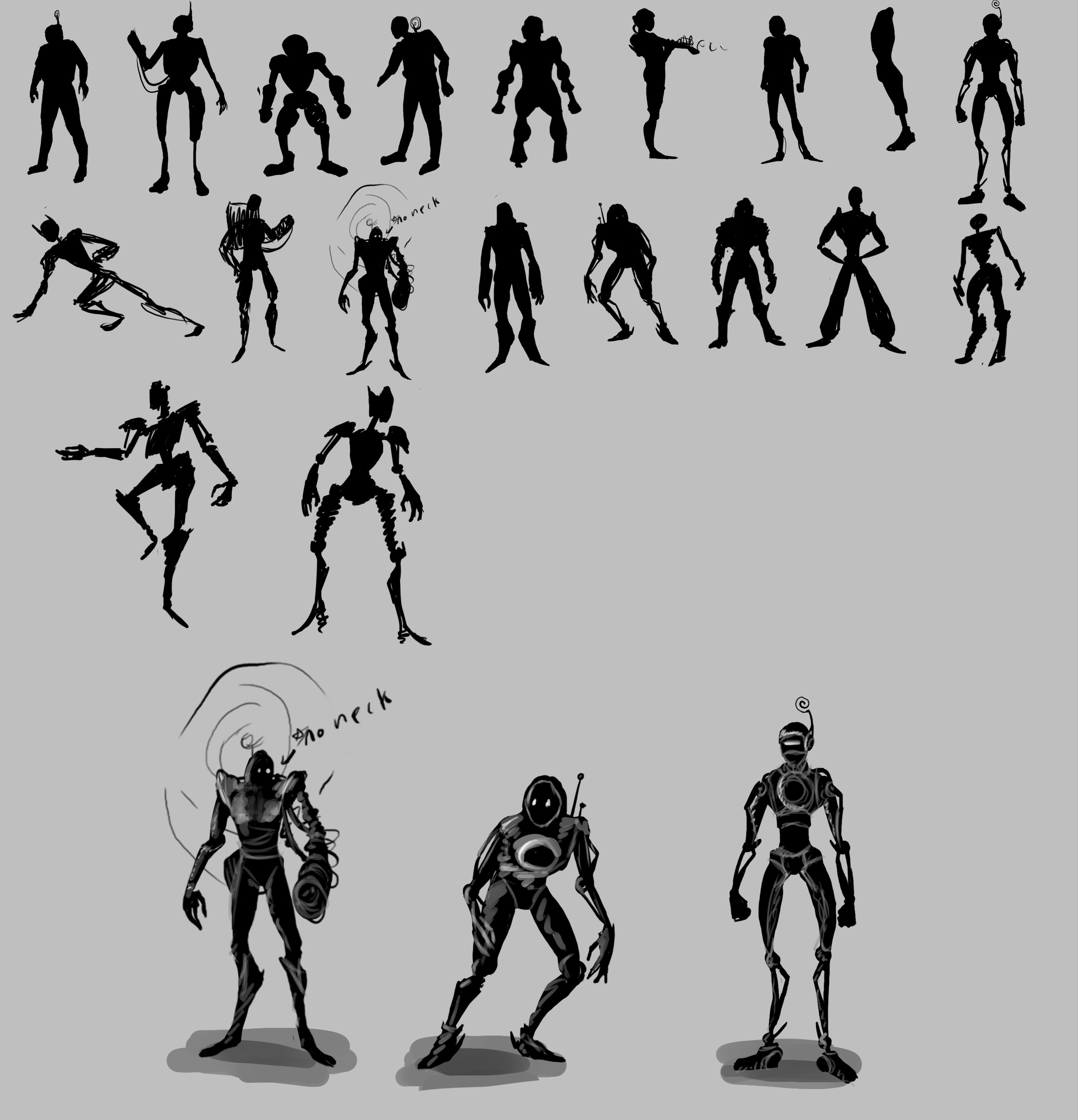 Silhouettes for the Actor. I decided to go for a more robotic look. The actor can't directly fight the Curruption so must rely on stealth and cooperation with the director to complete their objective.