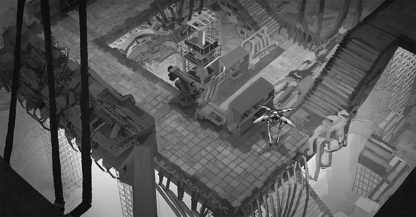 'in-game' black and white render