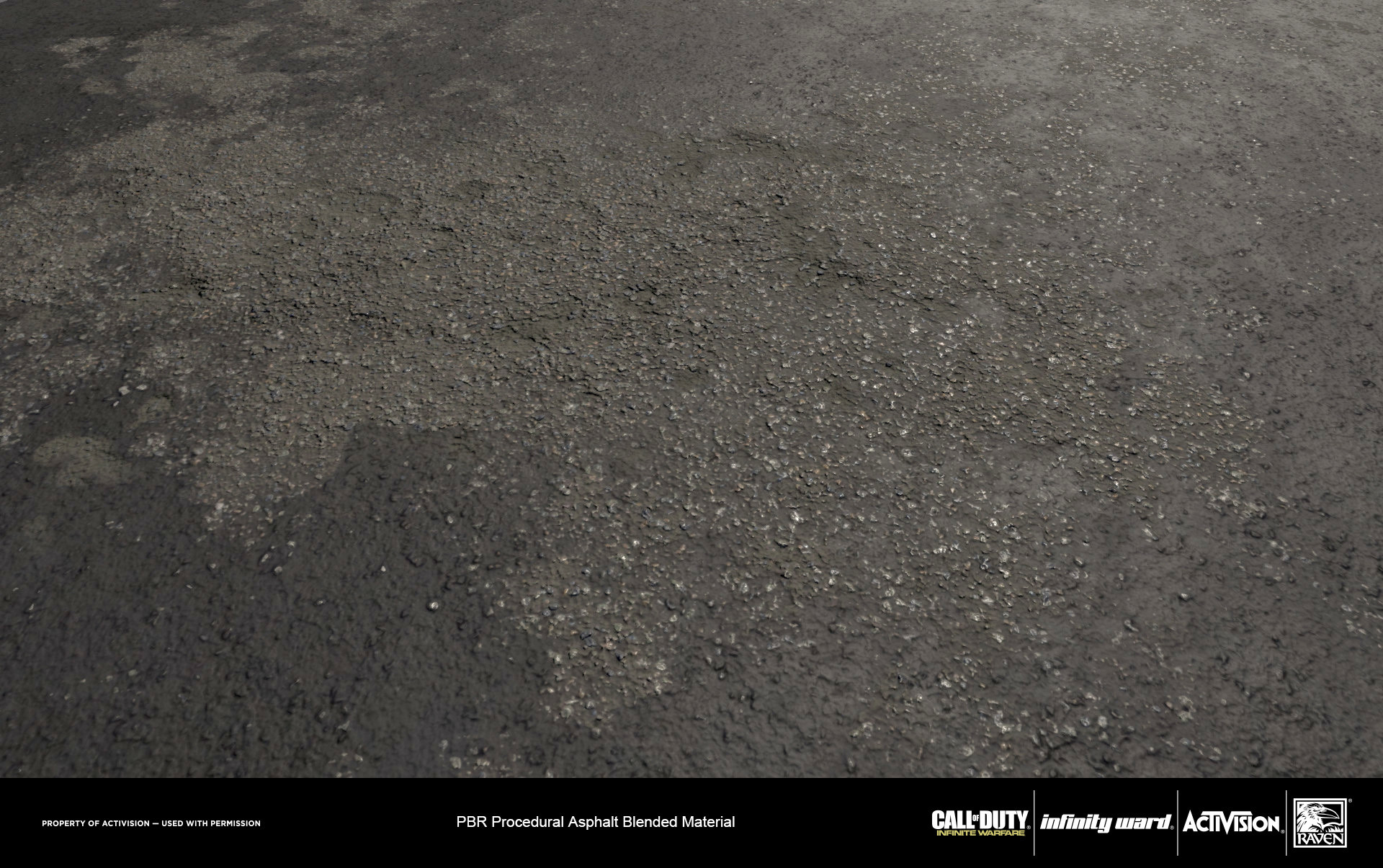 Material blend of smooth and rough asphalt.