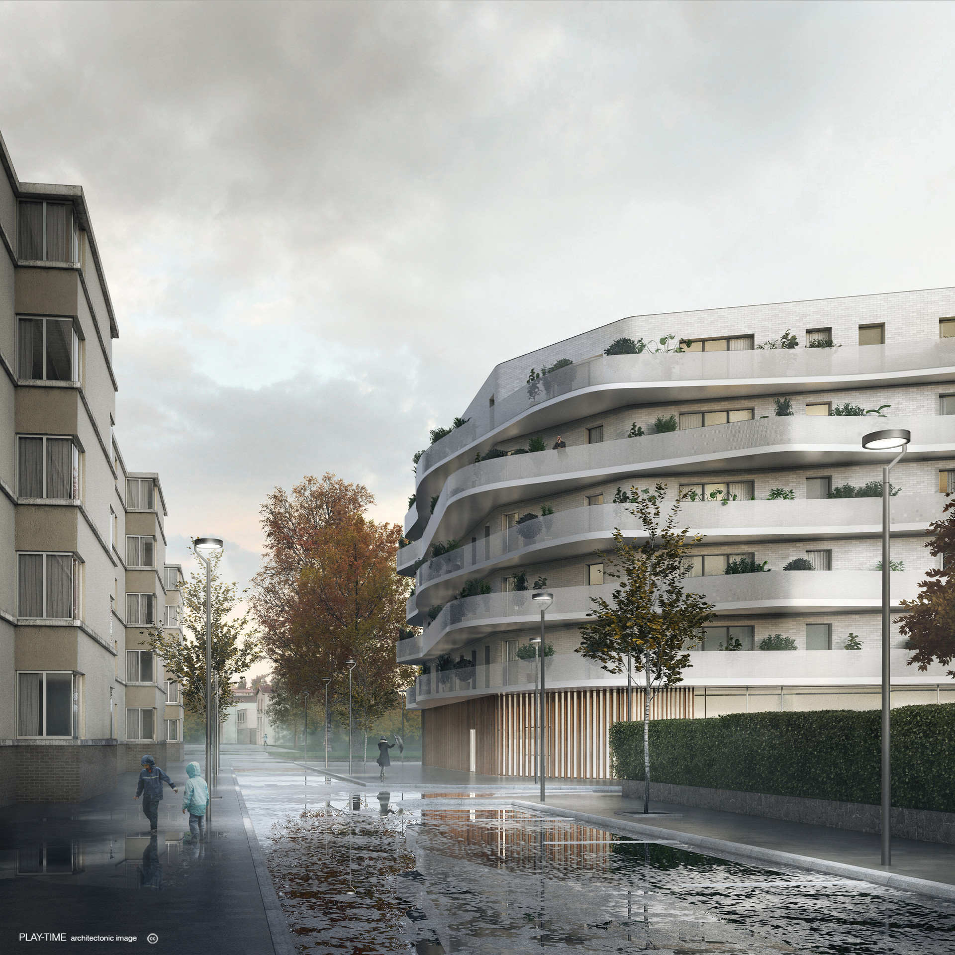Play time architectonic image rdaa coopimmo logements et creche a bagneux 1r prix 01