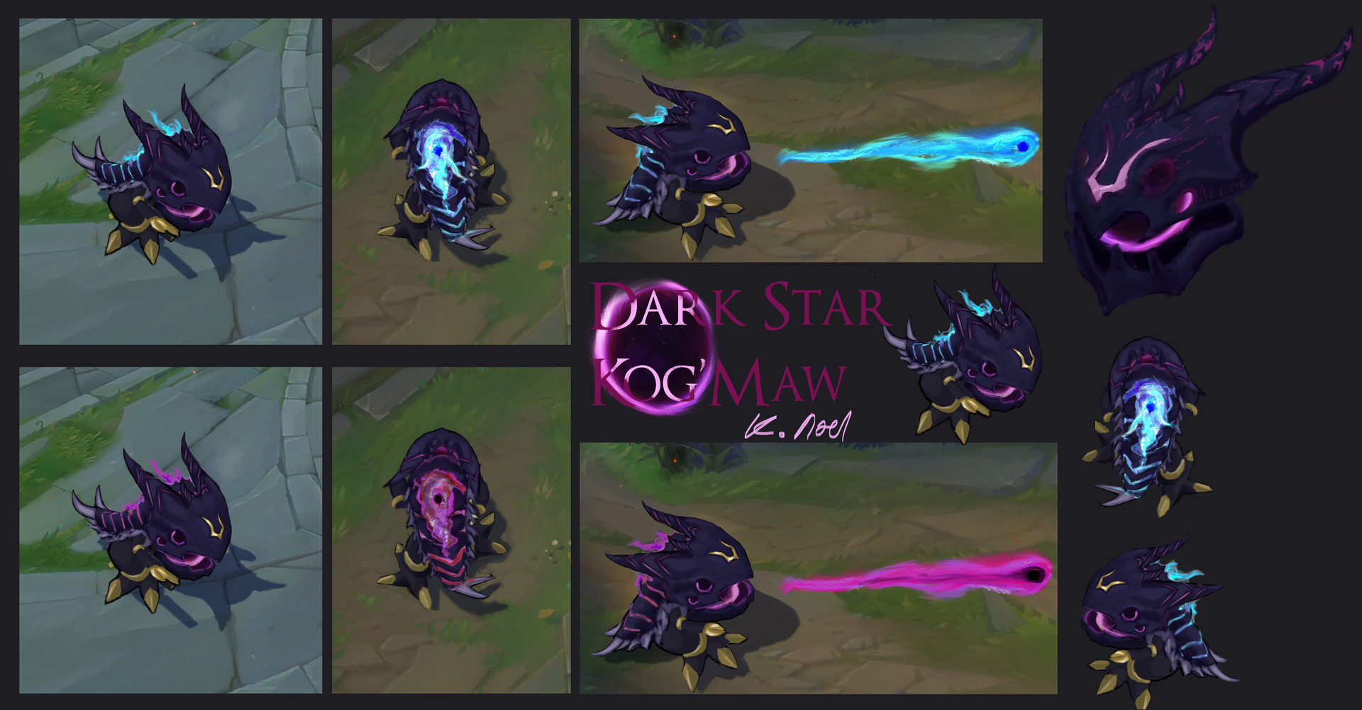 Isometric In-Game concepts of Kog'Maw both normally and when using his W -  Bio Arcane Barrage.