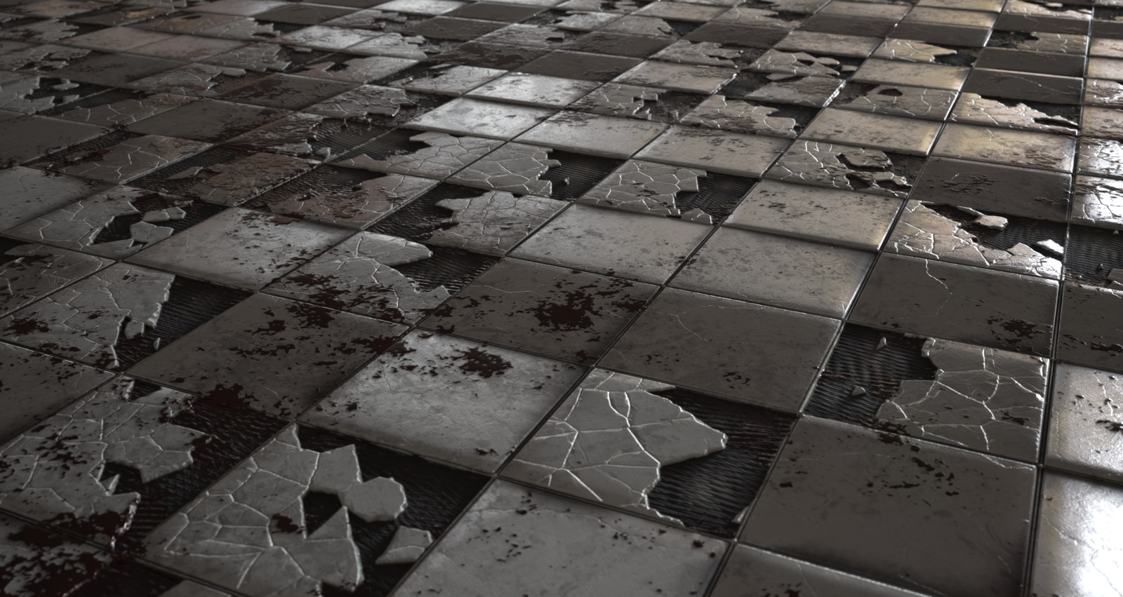 Cracked tile floor. Each floor has parameters for blood splatter and pooling, as well as options to colour the blood and add self illumination (looking at you Germany ;) ).