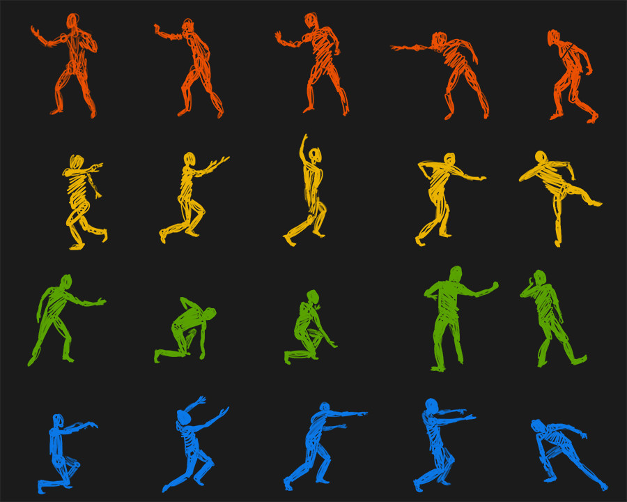 Figure sketches for poses based on the different elements.