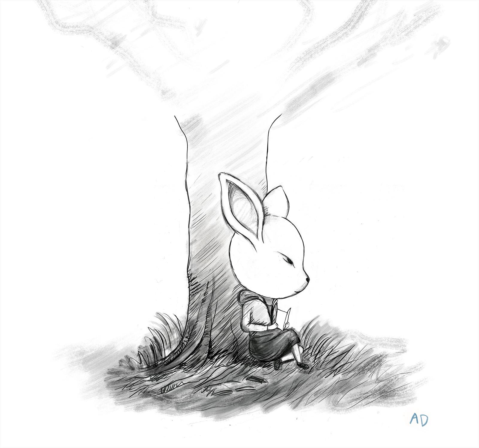 #Rabbit #sketch #pencil #reading #contemplation #nature #black #white #whiterabbit