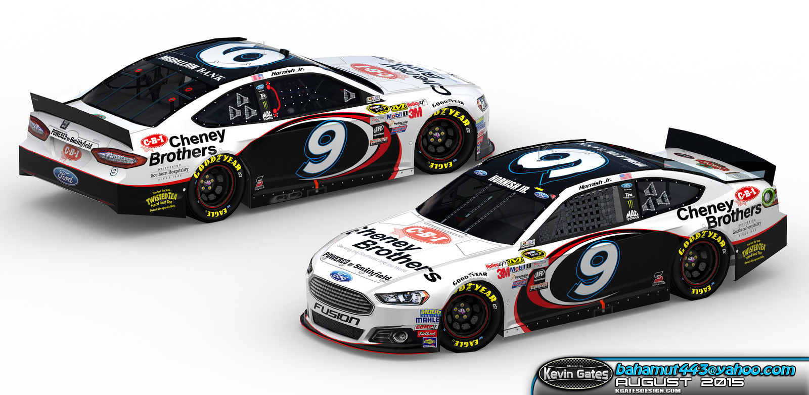Original Autodesk 3DS Max render of the finalized 2015 #9 Cheney Brothers Ford Fusion driven by NASCAR Sprint Cup Series driver Sam Hornish Jr. of Richard Petty Motorsports
