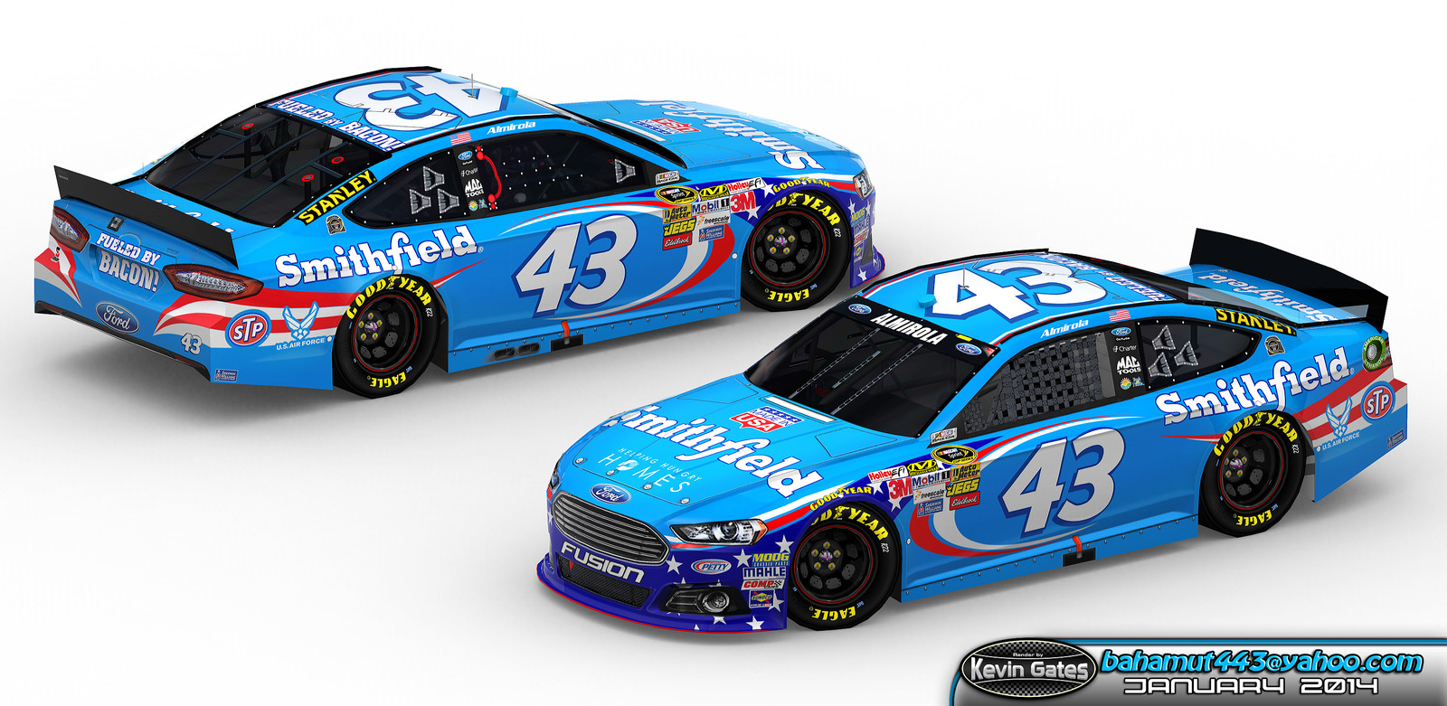 Original Autodesk 3DS Max render of the finalized 2014 'Made in USA' #43 Smithfield Ford Fusion driven by NASCAR Sprint Cup Series driver Aric Almirola of Richard Petty Motorsports