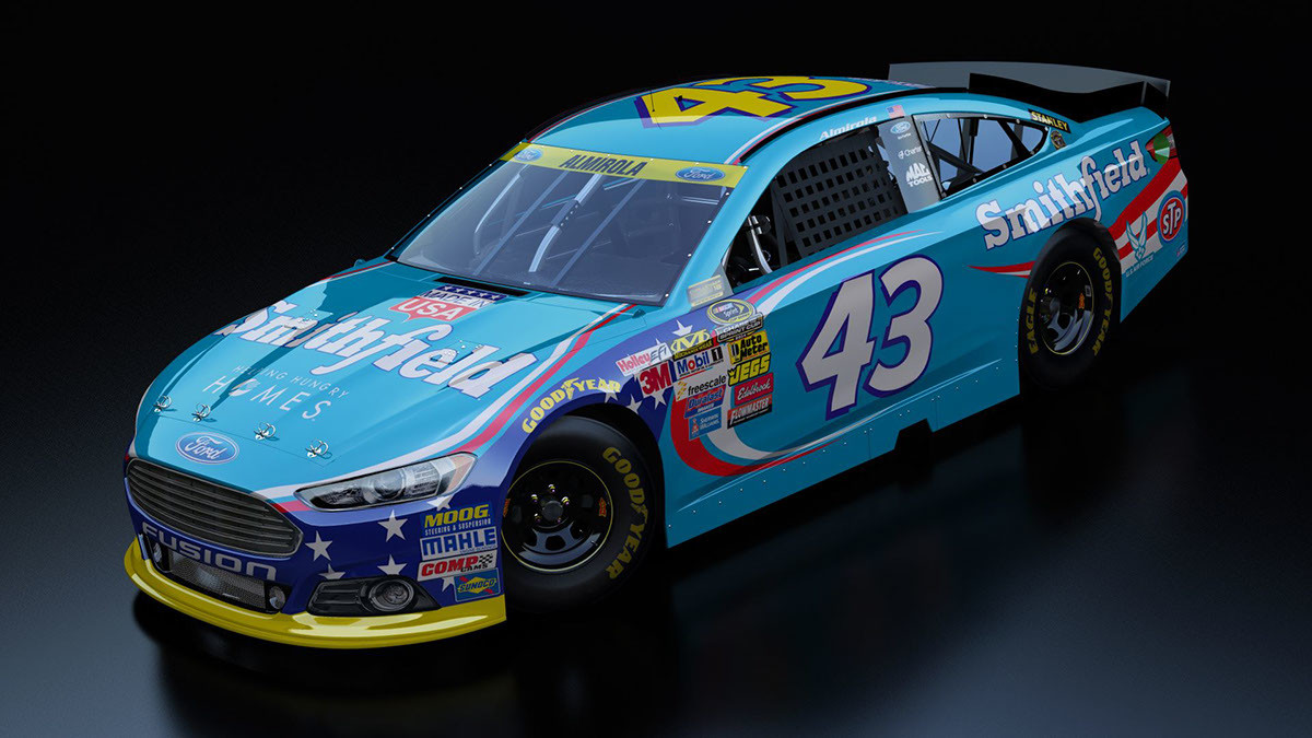 The NASCAR Chase for the Sprint Cup version of 2014 Smithfield Ford as represented in the game NASCAR '14 for the Playstation 3, XBOX 360, and PC. Render produced and provided by ETX Racing. (Credit: Official NASCAR '14 website)