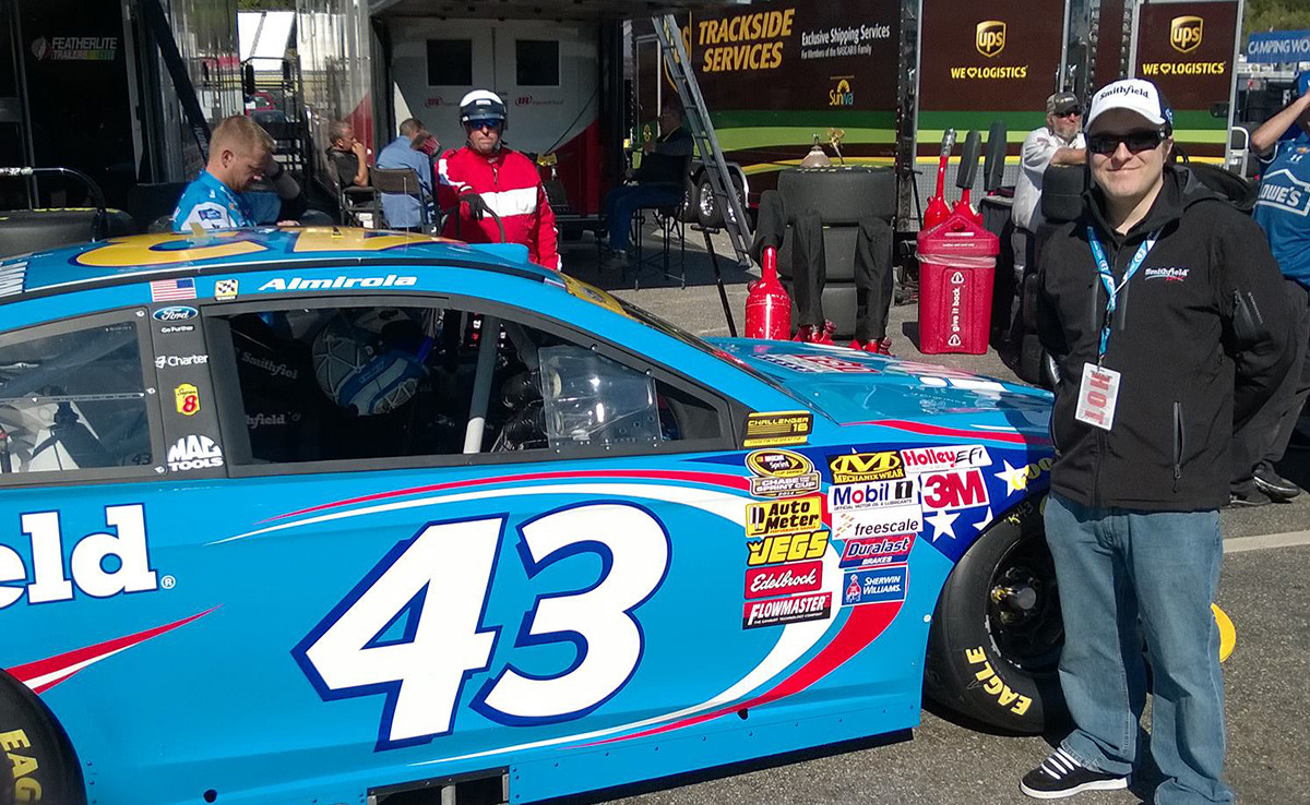 Posing with the #43 in the garage area at New Hampshire Motor Speedway. September 20th, 2014.