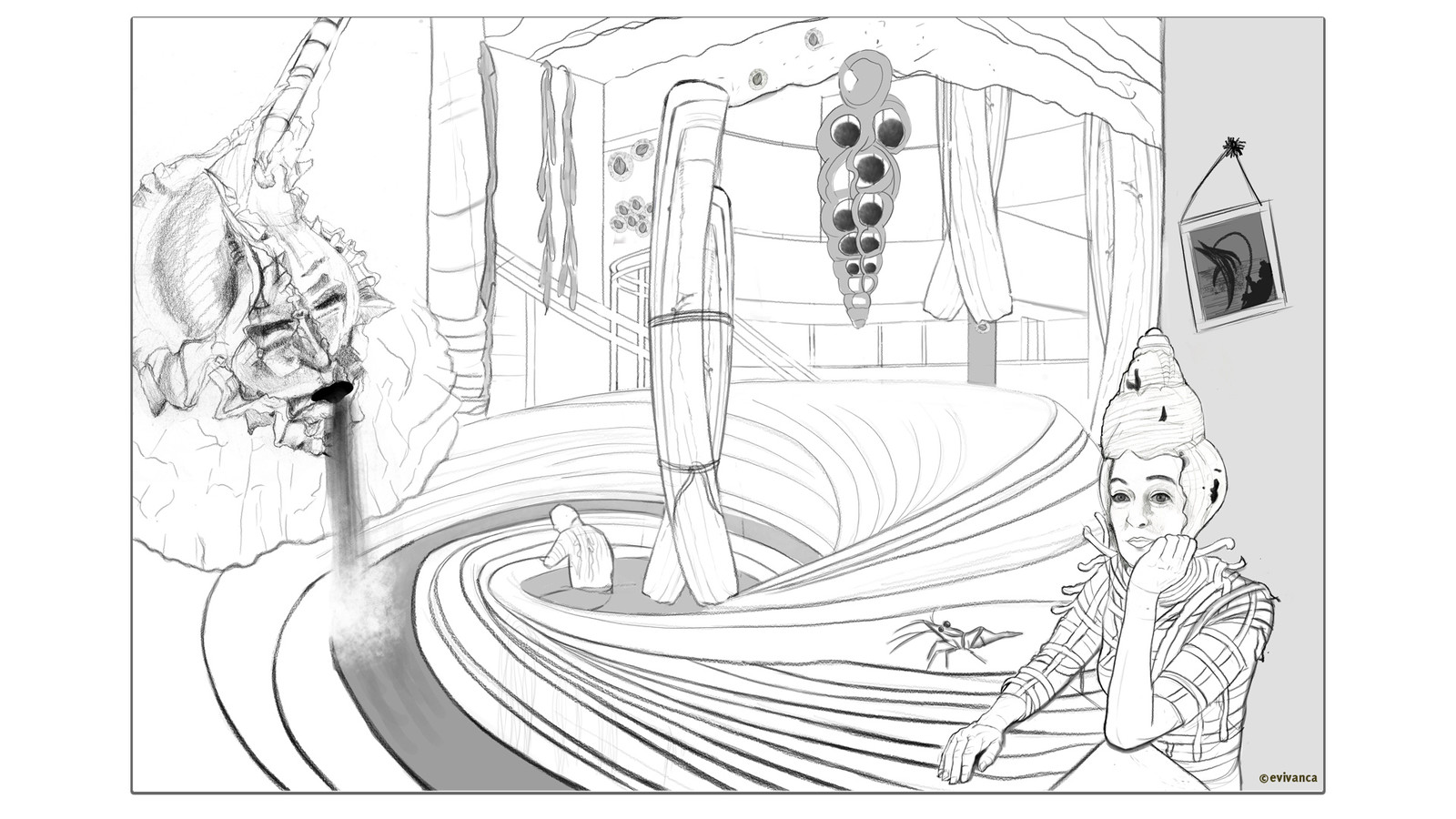 Study for an interior design for my Calusa shell city - a bathhouse - picture 1 - frame1
