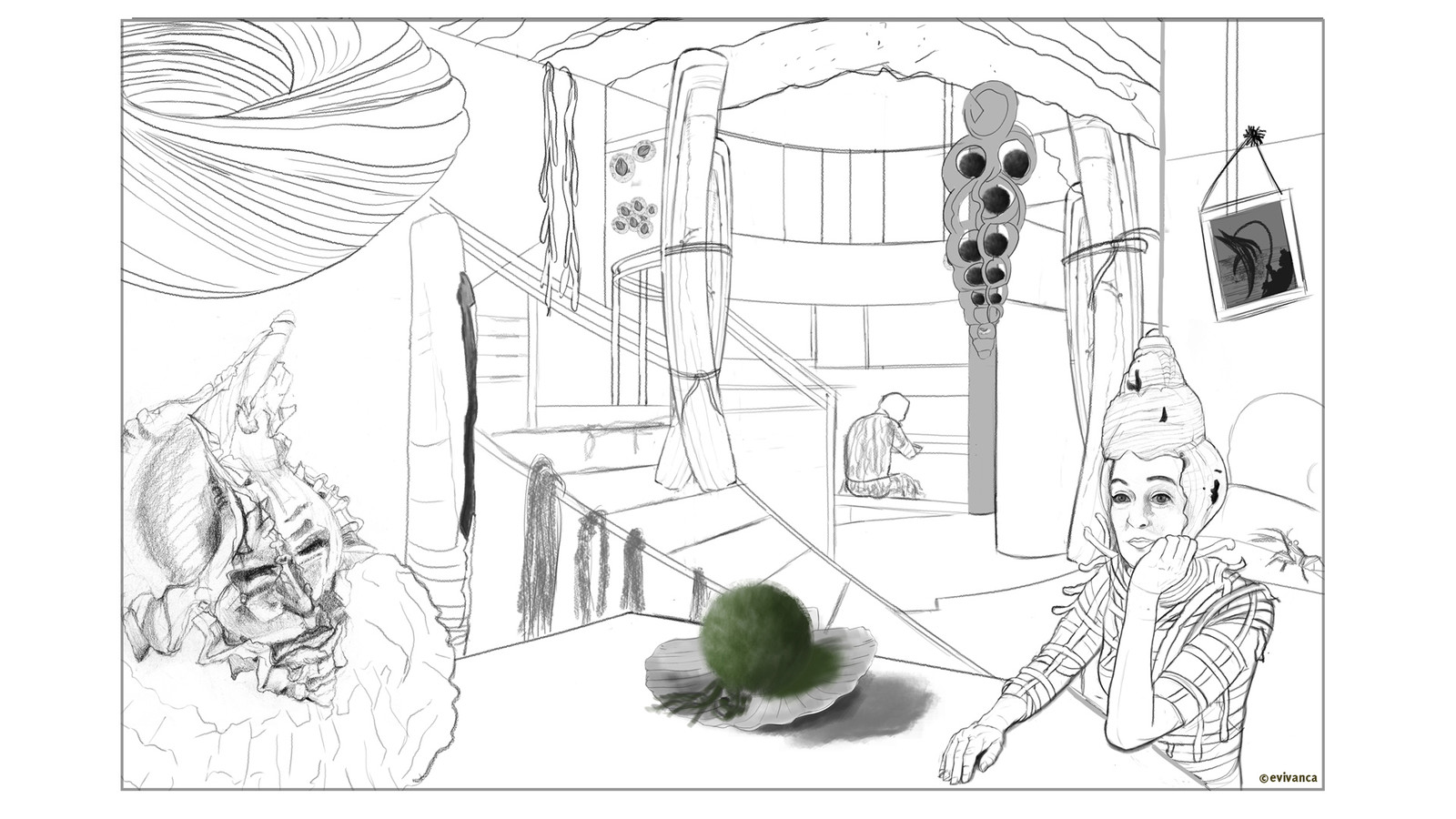 Alternative version for an interior design for my Calusa shell city - dining room