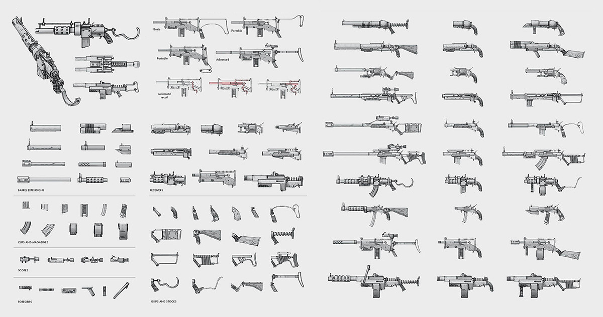 Ilya nazarov art of fallout 4 245 weapons concept art