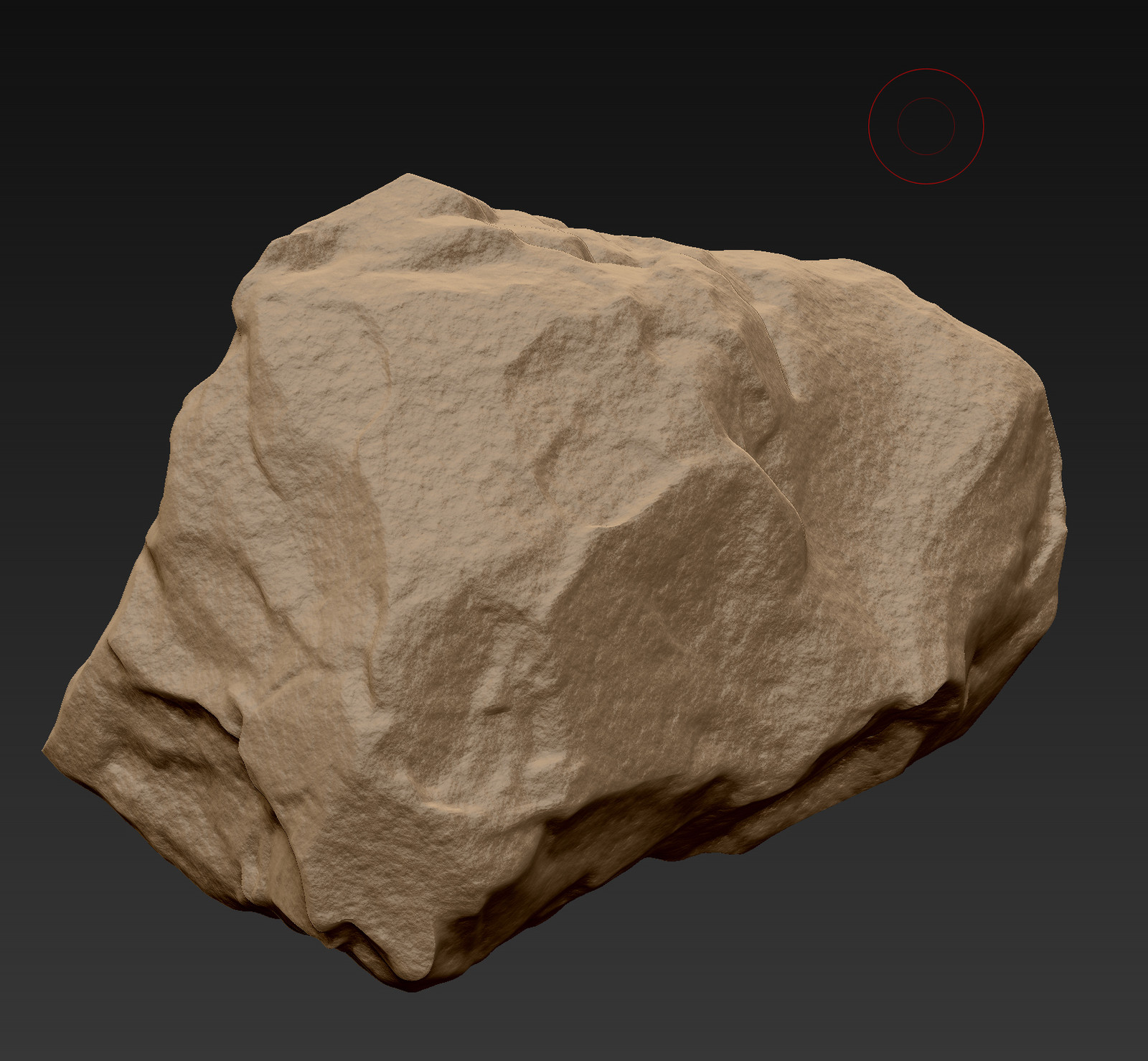 Sculpting a Rock in Zbrush, adding surfacenoise.