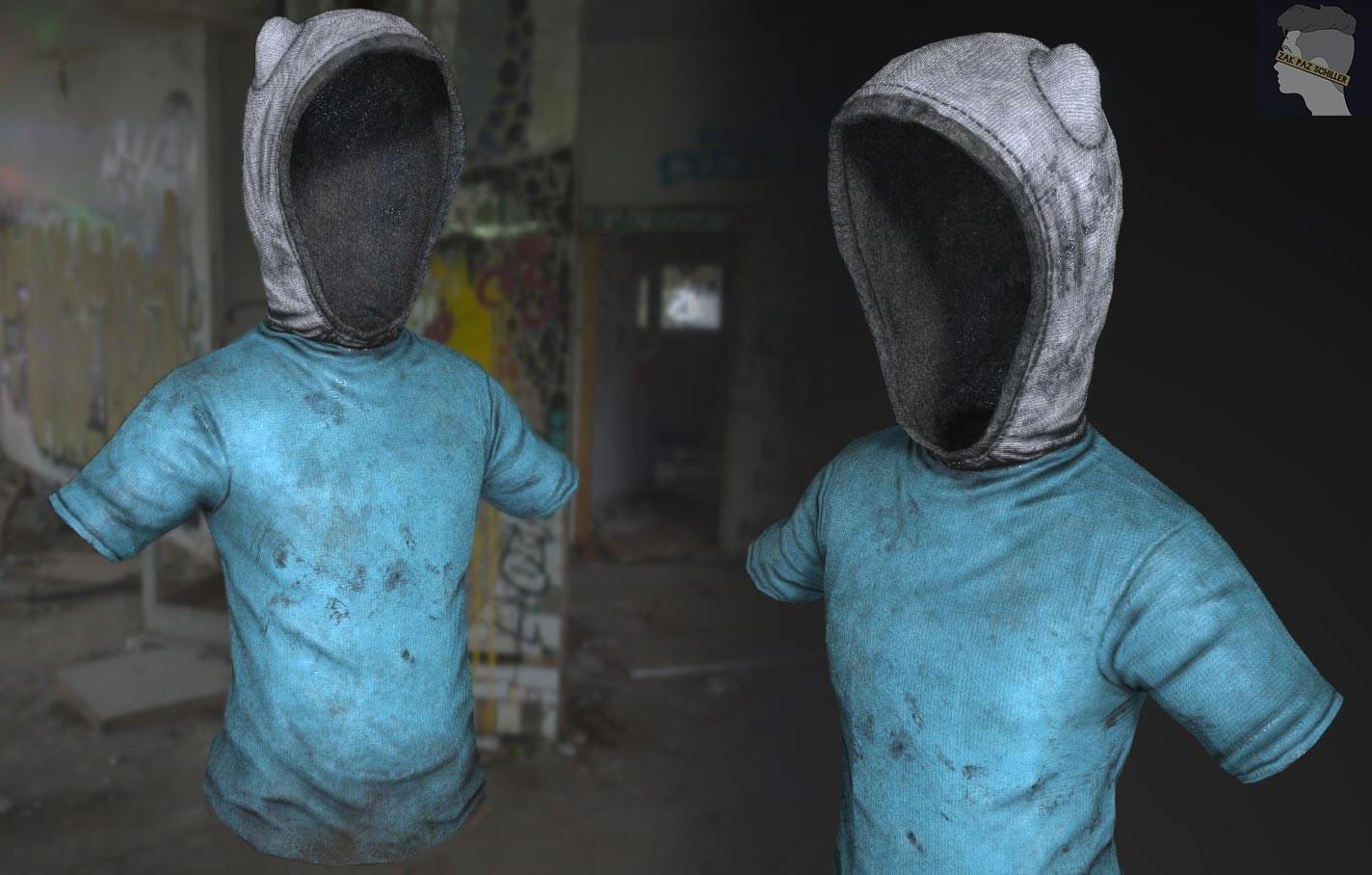 Finn's clothing post-substance work.
