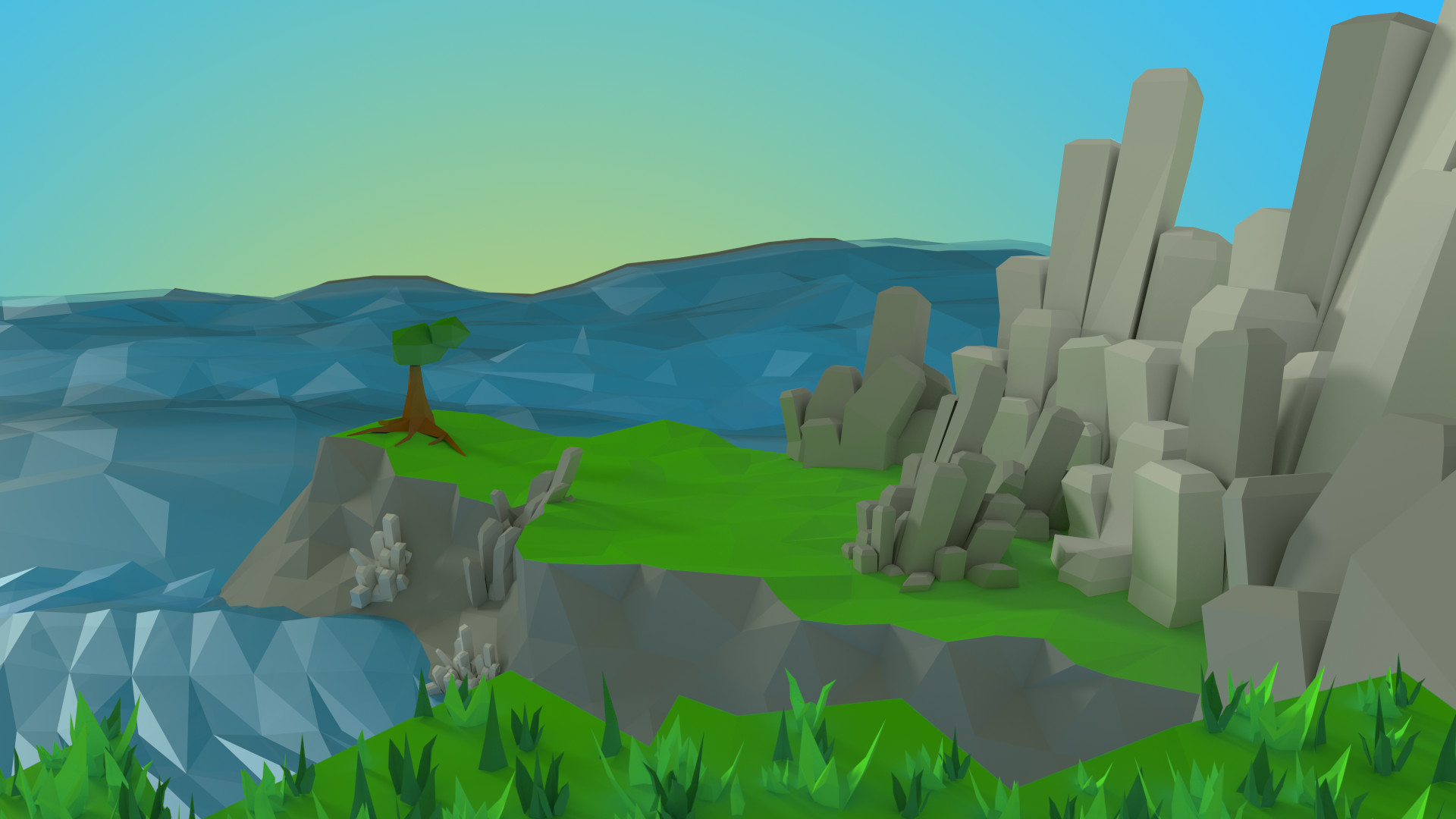 Andrew weir seaside low poly by piplington d6kd880
