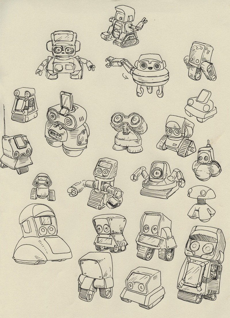 First doodles for the toy-robot sidekick called the 'Baby-Robot'.