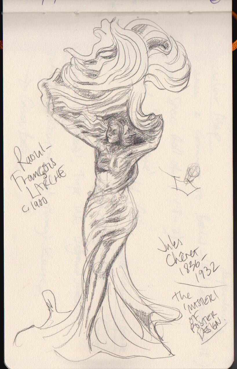 Art Nouveau Statue quick sketch study