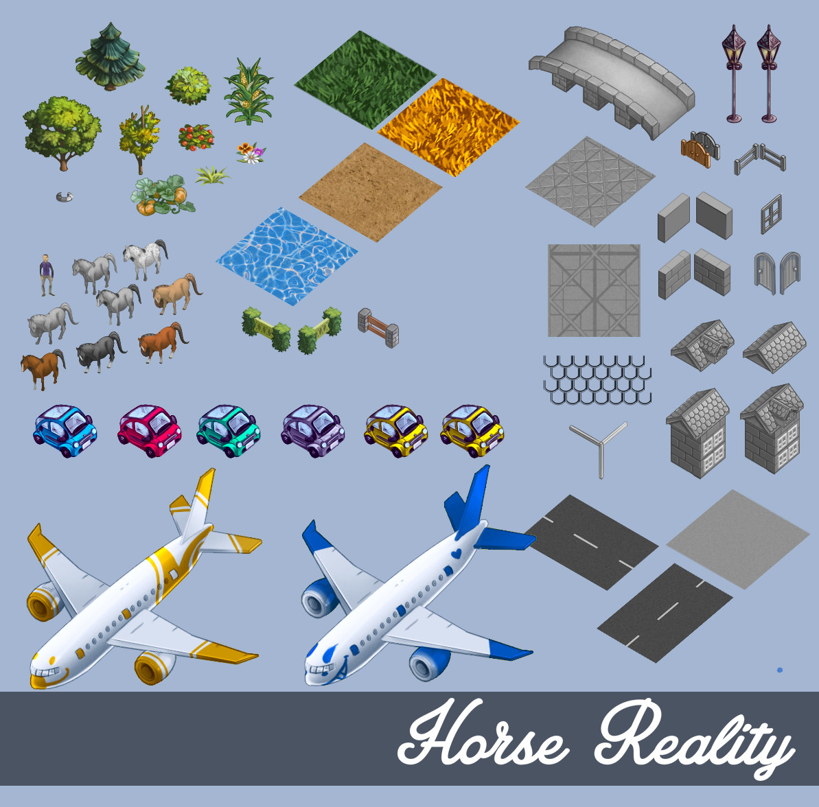 Individual Assets for the creation of the Horse Reality Map. All are greyscale with colour editions except for the water ripples.