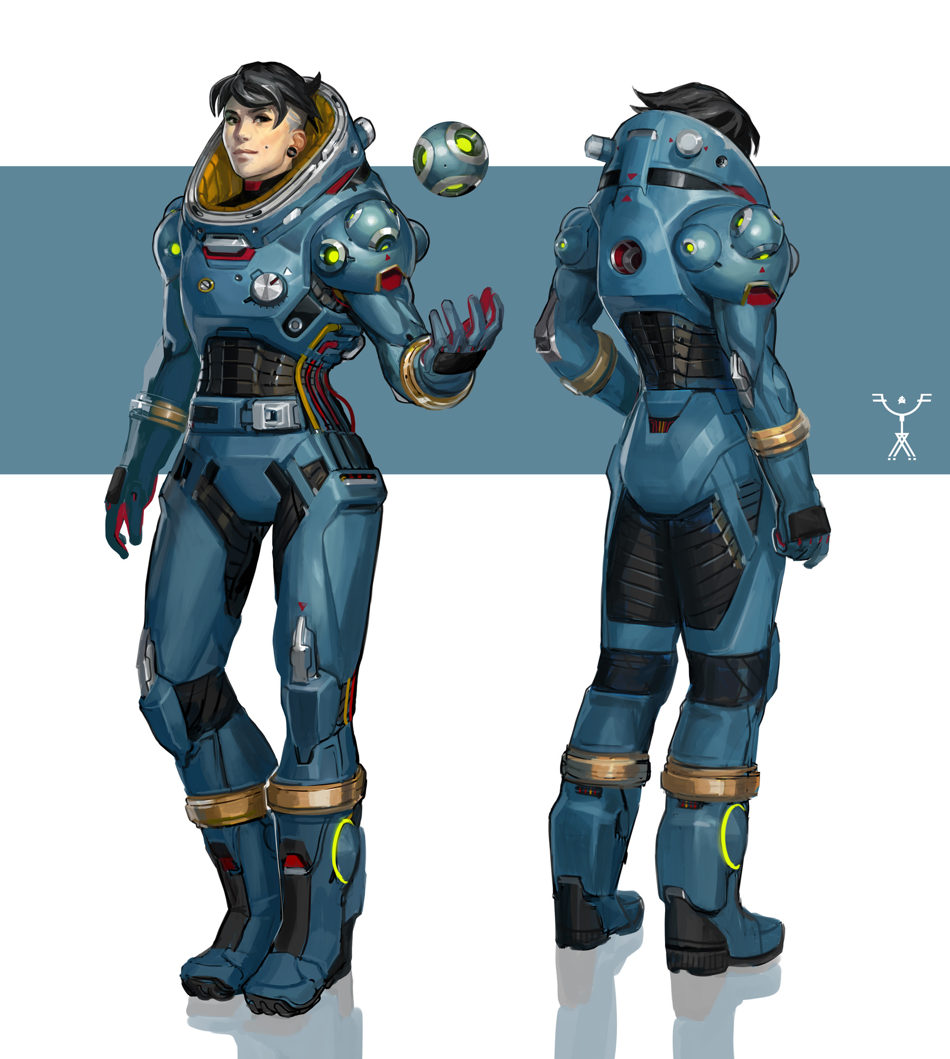 fred augis blue space suit design