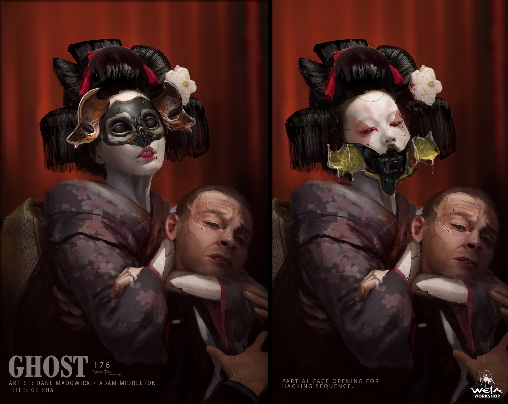 Weta workshop design studio 0176 gits geisha face hak partial dm am ks note right image only