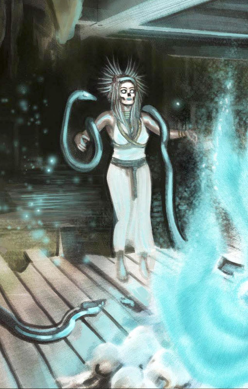 detail of priestess