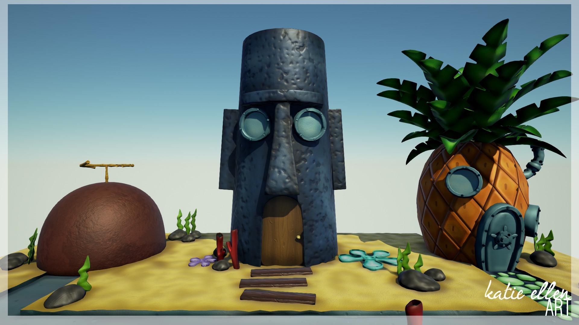 artstation - spongebob squarepants environment, katie ellen robinson